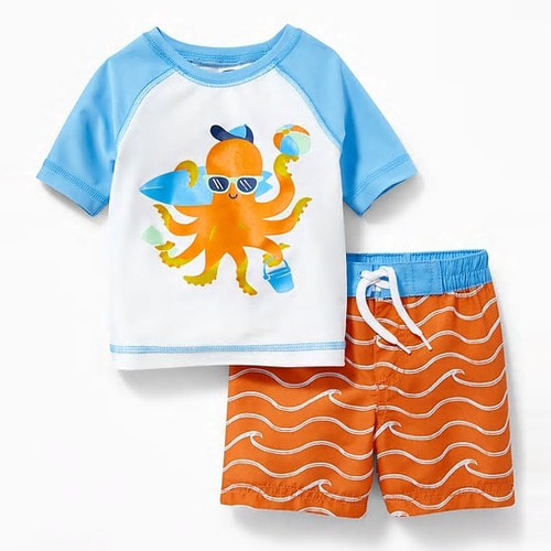 [당일출고] Graphic Rashguard & Swim Trunks Set for Baby